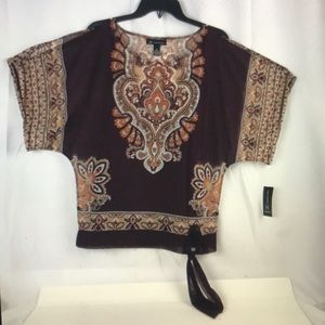 2 PC INC INTERNATIONAL CONCEPTS PAISLEY TOP NEW